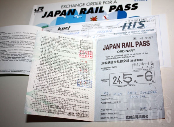 Interior del Japan Rail Pass